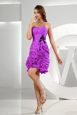 Ruffles Sweetheart Lavender Ruches and Pick-ups Bridesmaid Dress