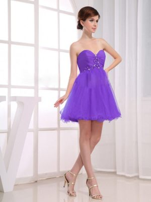 Sweetheart Beading Ruches A-Line Purple Bridesmaid Dress in Paris