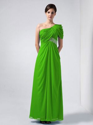 Ruches Spring Green One Shoulder Beading Bridesmaid Dress In Lyon