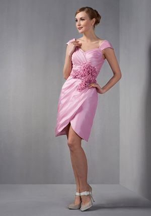 Cap Sleeves Bridesmaid Dress in Rose Pink with Ruches and Flowers