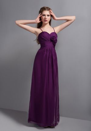 Flower Spaghetti straps Purple Bridesmaid Dress in Tours France
