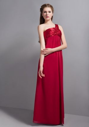 Tokai South Africa Wine Red One Shoulder Ruches Bridesmaid Dress