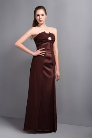 Brown Strapless Beading Column Bridesmaid Dress in Mainz Germany