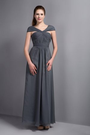 Cap Sleeves Ruche V-neck Grey Bridesmaid Dress in Cottbus Germany