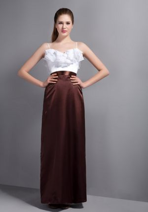 Ruffled Layers White and Burgundy Straps Bridesmaid Dress in Lyon
