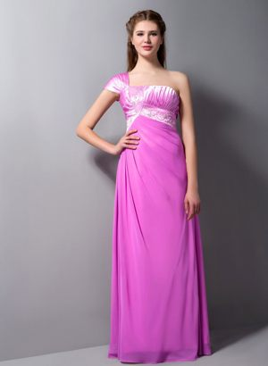 Pink One Shoulder Beading and Ruches Bridesmaid Dress in Paris