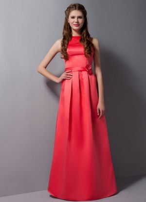 Rust Red High Neck Bridesmaid Dress with Sash in Frasdorf Germany