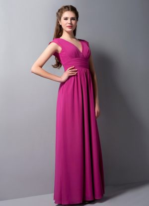 Fuchsia V-neck Ruches Bridesmaid Dress in Underberg South Africa