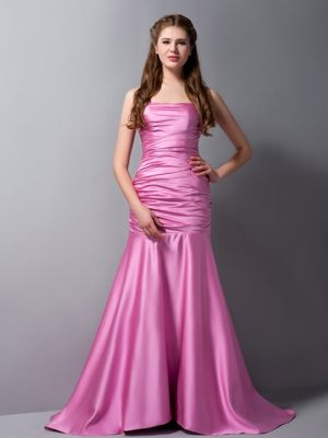 Nantes France Rose Pink Mermaid Strapless Ruches Bridesmaid Dress