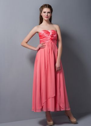 Hand Made Flower Watermelon Red Empire Strapless Bridesmaid Dress