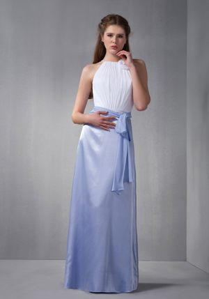 White and Lilac Scoop Ruches Belt Bridesmaid Dress in Lyon France