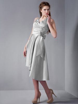 Lille France Halter Asymmetrical Ruches Bridesmaid Dress in Grey