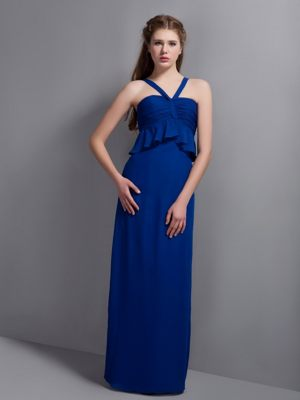 Dornstetten Germany V-neck Ruches Peacock Blue Bridesmaid Dress