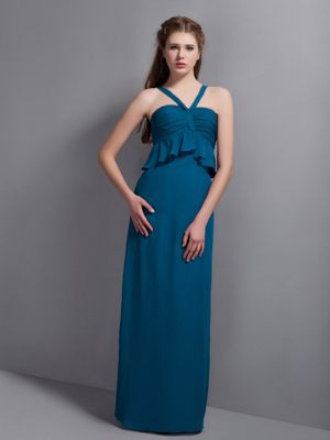 Teal V-neck Ruches Column Bridesmaid Dress in Buchdorf Germany