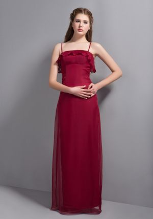 Wine Red Chiffon Straps Bridesmaid Dress in Western Cape South Africa