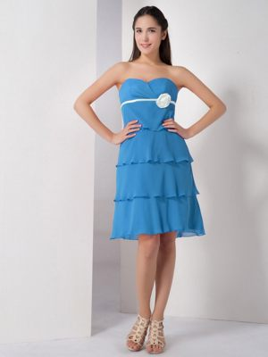 Paris France Baby Blue Sweetheart Hand Made Flower Bridesmaid Dress
