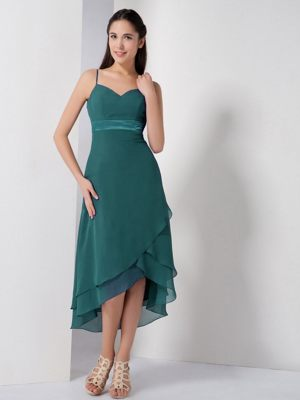Green High-low Spaghetti Straps Bridesmaid Dress in Lyon France