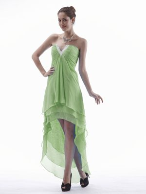 Yellow Green High-low V-neck Bridesmaid Dress in Le Mans France