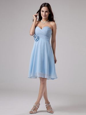 Flower and Ruches Light Blue Sweetheart Bridesmaid Dress in Paris
