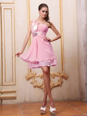 Rose Pink Beaded Bridesmaid Dress One Shoulder in Toulouse France