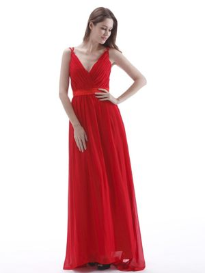V-neck Red Ruches Empire Bridesmaid Dress in Howick South Africa