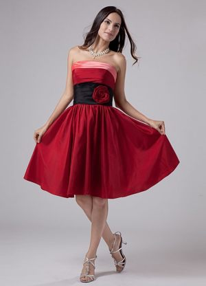 Flowers Strapless A-Line Wine Red Bridesmaid Dress in Lyon France
