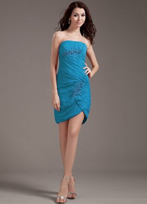 Angers France Beading Strapless Teal Mini-length Bridesmaid Dress