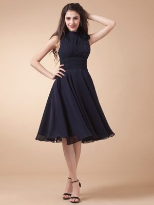 High-neck Ruches Navy Blue Bridesmaid Dress in Barmstedt Germany