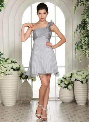 Grey One Shoulder Empire Ruches Bridesmaid Dress in Reims France
