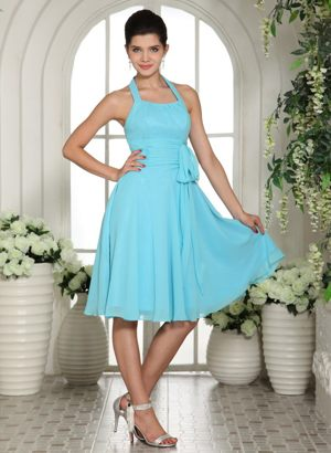 Aqua Blue Halter Sash Bridesmaid Dress in Faunasig South Africa