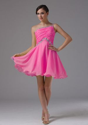 One Shoulder Ruched and Beaded Hot Pink Bridesmaid Dress in Paris