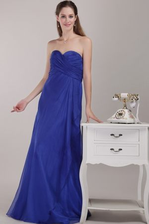 Lyon France Royal Blue Ruches Empire Sweetheart Bridesmaid Dress