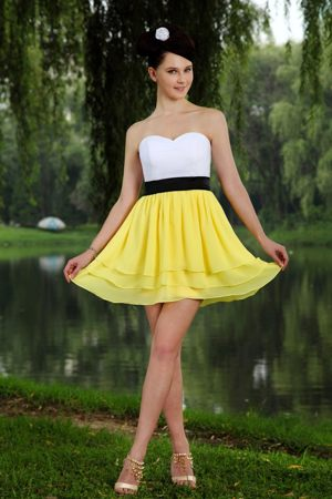 Yellow and White Sweetheart Sash Bridesmaid Dress Bingen Germany