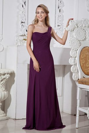 Dark Purple One Shoulder Column Bridesmaid Dress in Paris France