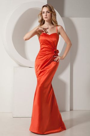 Rust Red Mermaid Straps Bridesmaid Dress with Ruches and Flower