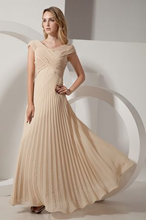 Champagne V-neck Pleat Bridesmaid Dress in Durban South Africa