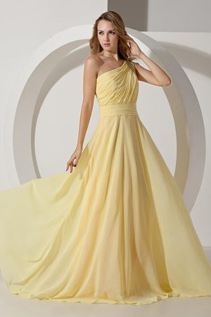 Bisho South Africa Light Yellow One Shoulder Beading Bridesmaid Dress