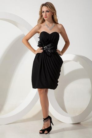 Black Flowers Ruches Sweetheart Bridesmaid Dress in Lyon France