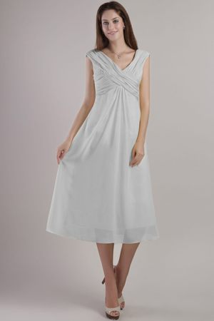 Ankle-length Grey Empire V-neck Bridesmaid Dress in Nantes France