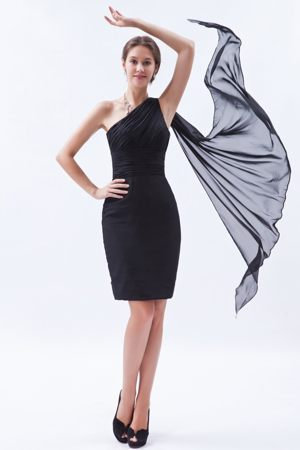 Black Column One Shoulder Ruches Watteau Train Bridesmaid Dress