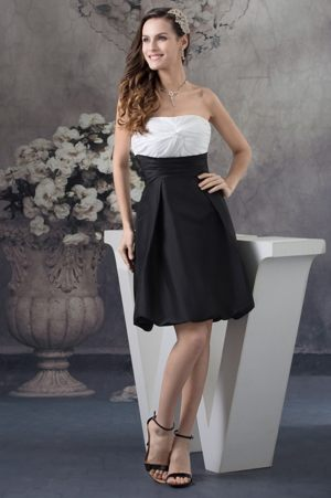 Strapless White and Black Ruches Bridesmaid Dress in Lyon France