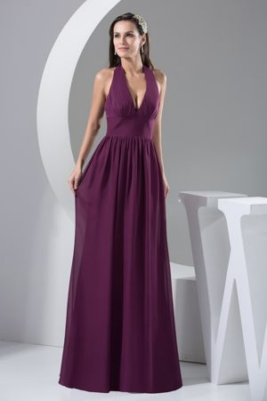 Strasbourg Halter Top Plunging Neckline Back Out Bridesmaid Dress