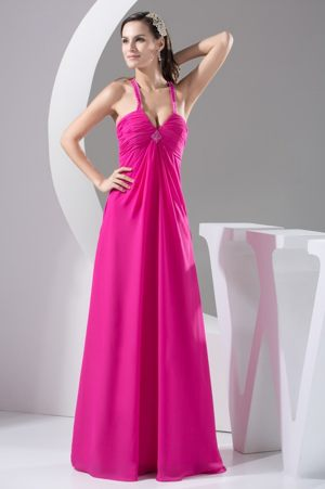 Hot Pink Straps Beading and Ruches Bridesmaid Dress in Toulouse