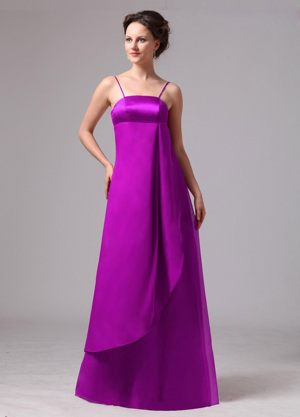 Spaghetti Straps Apron Design Overlay Bridesmaid Dress in Purple