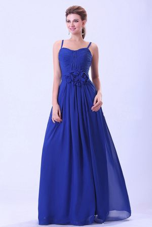 Flower Royal Blue Straps Ruched Bridesmaid Dress in Rouen France