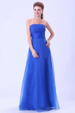 Blue Strapless Empire Ruches Bridesmaid Dress in Le Mans France