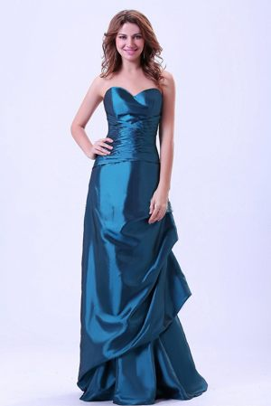 Strasbourg France Sweetheart Column Ruches Teal Bridesmaid Dress