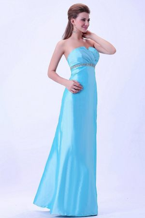 Lyon France Aqua Blue Beaded Ruched Strapless Bridesmaid Dress