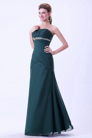 Strapless Green Appliques and Ruches Bridesmaid Dress in Dijon France