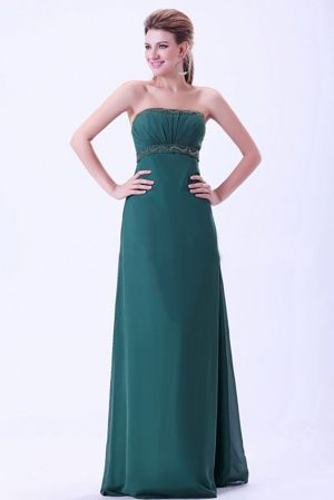 Nantes France Strapless Green Beading and Ruches Bridesmaid Dress